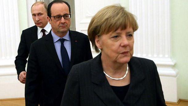 Володимир Путін, Франсуа Олланд і Ангела Меркель