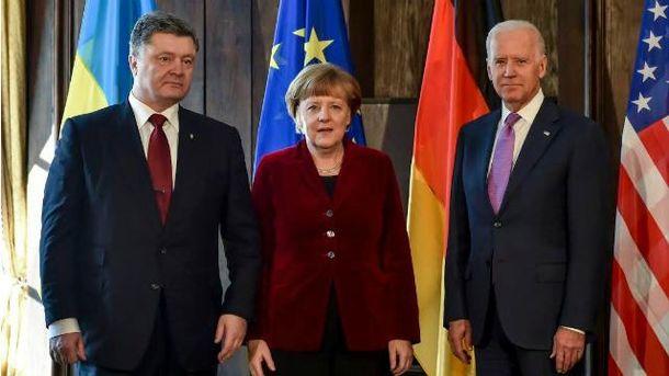 Порошенко встретился с Меркель и Байденом