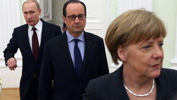 Владимир Путин, Франсуа Олланд и Ангела Меркель