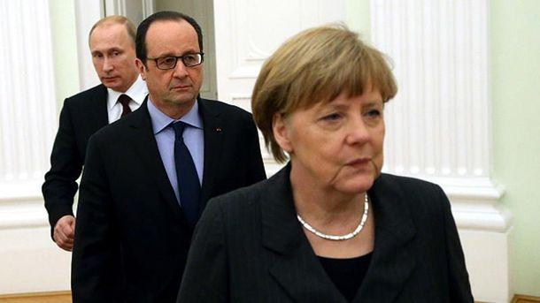 В. Путин, Ф. Олланд и А. Меркель