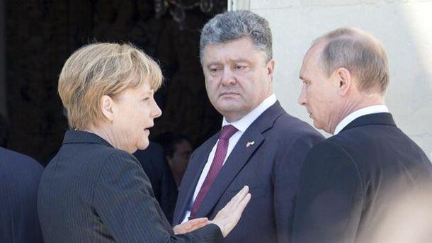 Ангела Меркель, Петро Порошенко та Володимир Путін