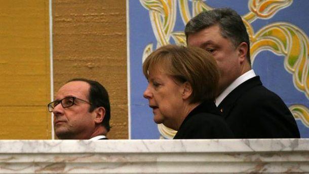 Петр Порошенко, Франсуа Олланд, Ангела Меркель