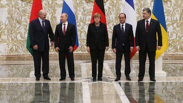 Лукашенко, Путін, Меркель, Олланд та Порошенко
