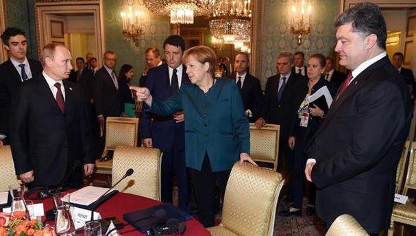 Путин, Меркель и Порошенко
