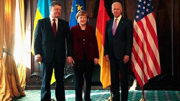 Петр Порошенко, Ангела Меркель и Джо Байден