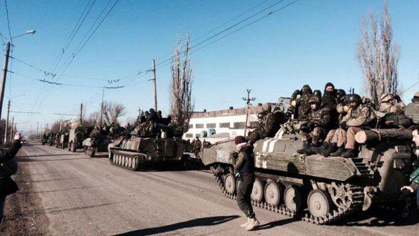 Выход украинских бойцов из Дебальцево