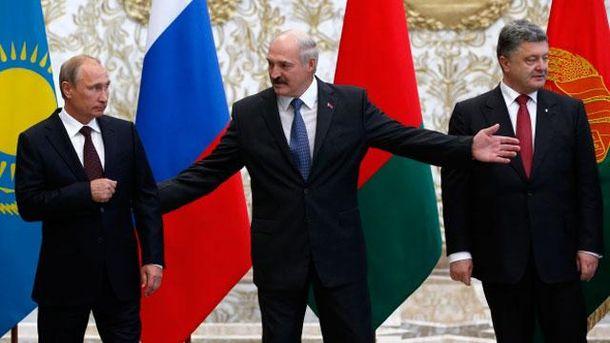 Путін, Лукашенко і Порошенко в Мінську