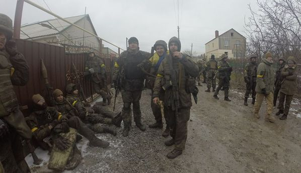 Українські військові під Широкиним
