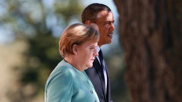 А. Меркель и Б. Обама