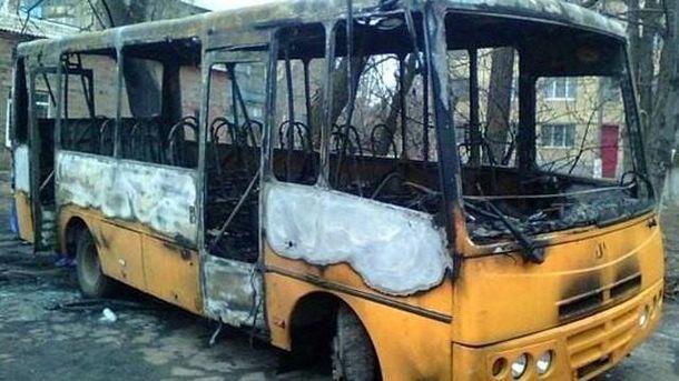 Спалений автобус після заворушень в Костянтинівці