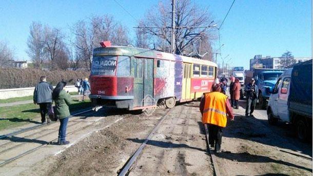 Трамвай сошел с рельсов в Одессе