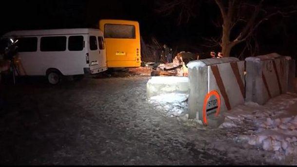 Подорвался автобус у Артемовска