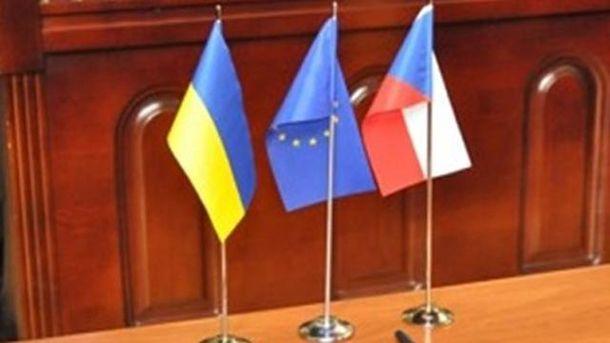 Флажки Украины, ЕС и Чехии