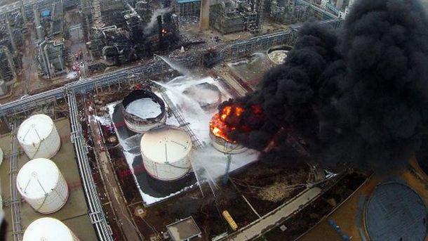 Пожар на заводе в Китае