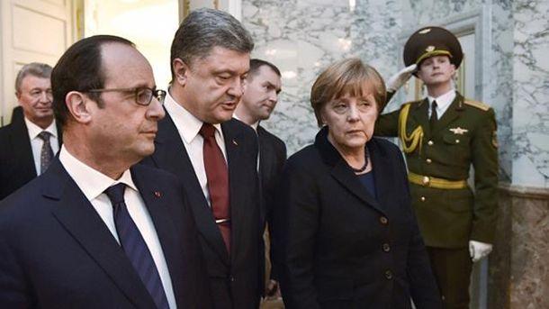 Франсуа Олланд, Петро Порошенко і Ангела Меркель