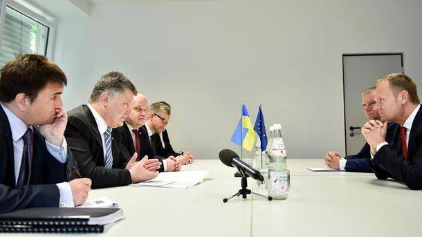 Встреча Дональда Туска с украинской делегацией во главе с Петром Порошенко