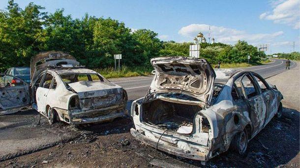 Машины после перестрелки в Мукачево