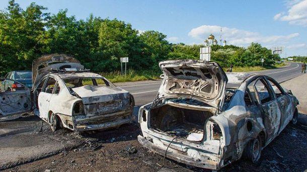 Сожженные автомобили милиции под Мукачевым