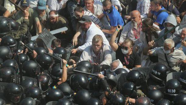 Ігор Швайка під час сутичок під Верховної Радою