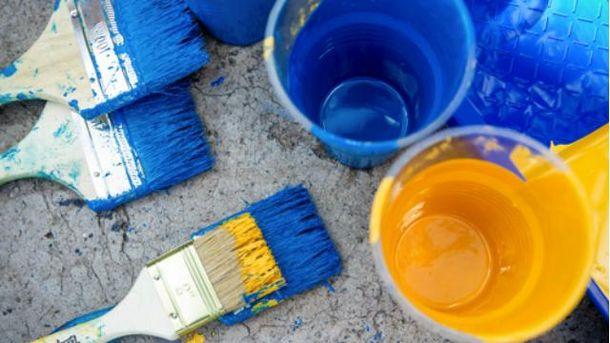 Синя та жовта фарби
