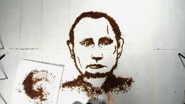Портрет Путина из хлебных крошек