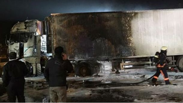 Обгоревший грузовик