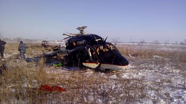 На месте падения вертолета