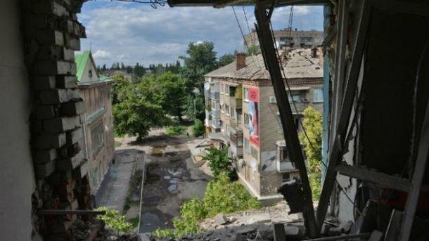 Разрушенные дома на Донбассе