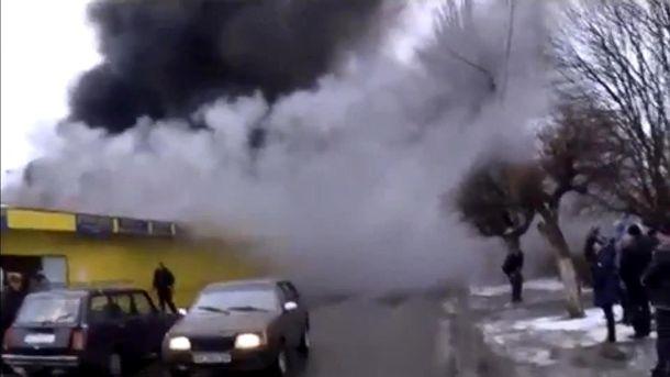 Пожар на рынке в Никополе