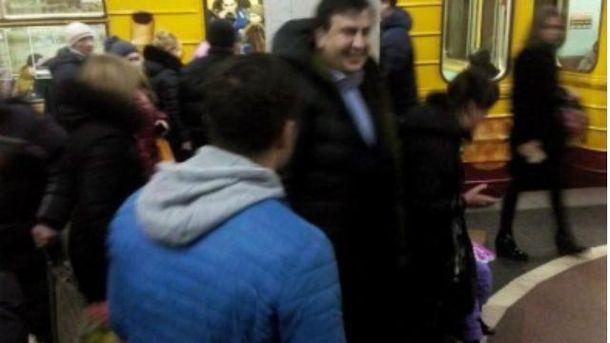 Михеил Саакашвили в метро