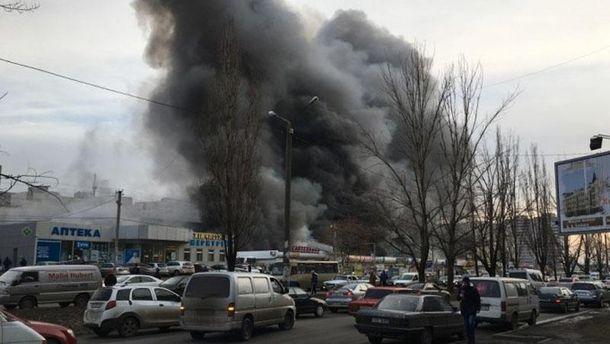 Пожар на рынке в Одессе