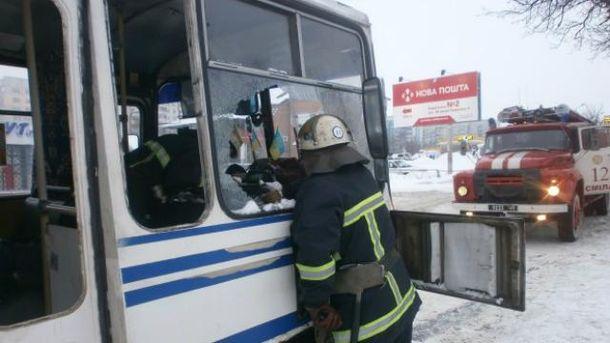 В Черкасской области загорелся автобус
