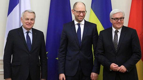 Жан-Марк Еро, Арсеній Яценюк та Франк-Фальтер Штайнмаєр