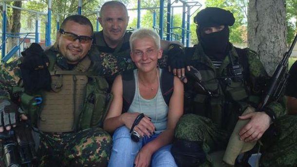 Мария Столярова в компании боевиков батальона