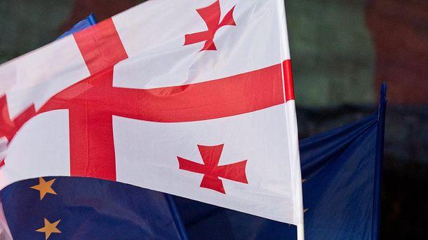 Прапори Євросоюзу та Грузії