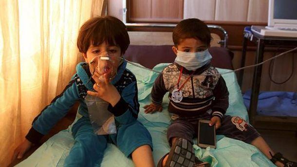 Пострадавшие от химической атаки дети