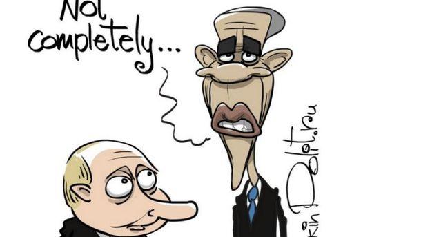 Карикатура на Обаму та Путіна