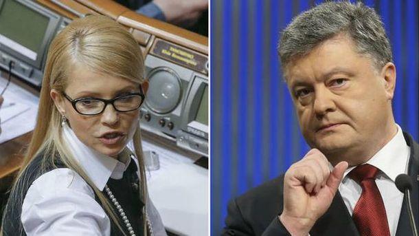 Юлія Тимшенко і Петро Порошенко