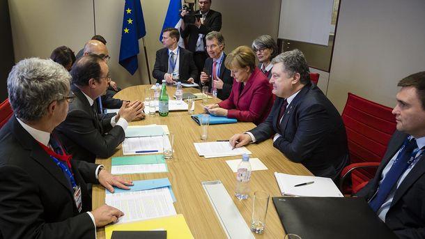 Встреча Олланда, Меркель и Порошенко в Брюсселе