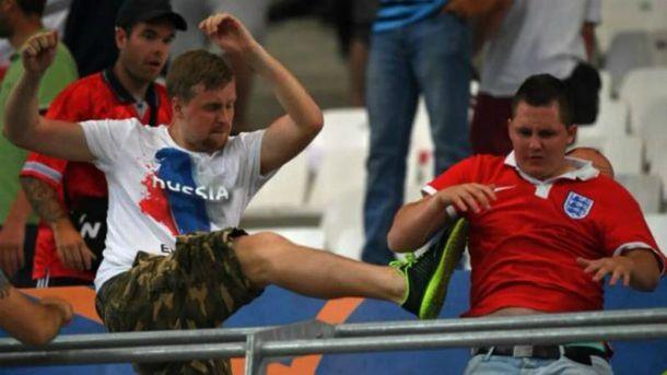 Российские фанаты устроили массовое побоище на стадионе в Марселе