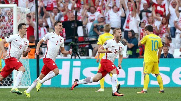 Польша празднует гол в ворота Украины