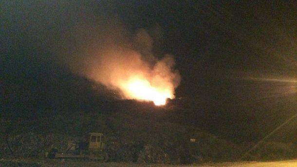 Нічна пожежа на Грибовицькому сміттєзвалищі