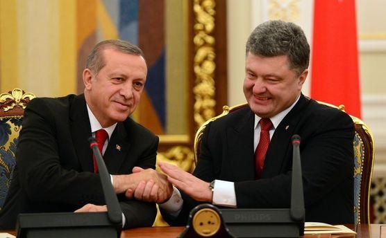 Президент Турции Реджеп Тайип Эрдоган и Президент Украины Петр Порошенко