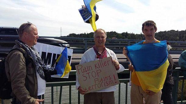 Протест против Путина в Финляндии