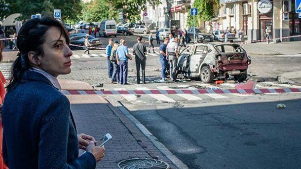 Деканоидзе одной из первых прибыла на место убийства Шеремета
