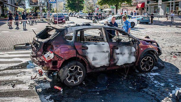 Машина Павла Шеремета после взрыва