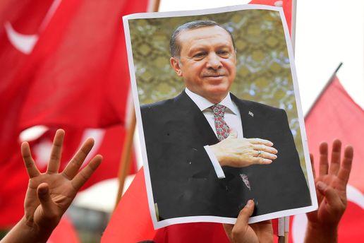 Плакат с президентом Турции Реджепом Тайипом Эрдоганом