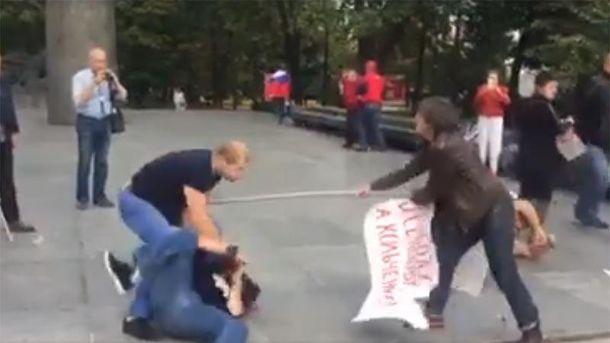 Стычка на проукраинском митинге в Москве