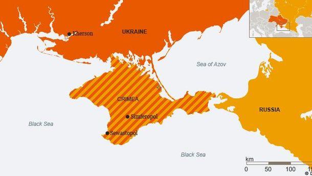 Карта України з анексованим півостровом