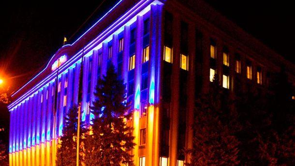 Світлодіодний прапор на Дніпропетровській ОДА